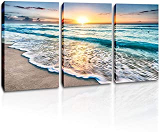DVQ ART - Sunset Canvas Wall Art Sea Wave Picture Prints on Canvas Stretched and Framed Ocean Beach Poster Painting Seascape Artwork for Living Room Bedroom Walls Decor 3 Pcs/Set