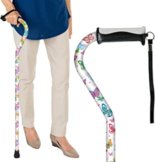 Vive Walking Cane - for Men & Women - Portable, Adjustable Offset Balance Stick - Lightweight & Sturdy Mobility Walker Aid for Arthritis, Elderly, Seniors & Handicap (White Butterfly)