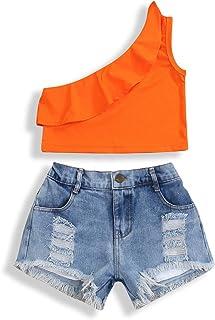 2Pcs Fashion Toddler Kids Baby Girl Denim Shorts Sets Sleeveless T-Shirt Top Ripped Shorts Summer Outfits