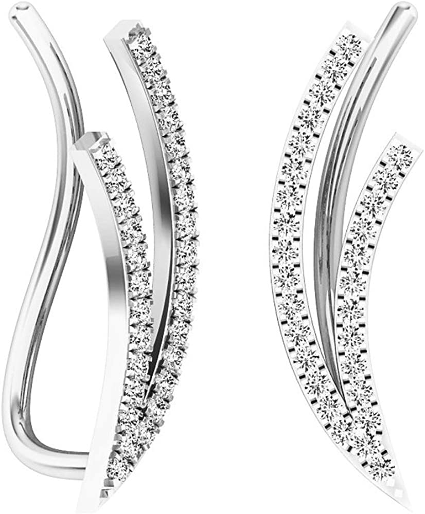 Dazzlingrock Collection 0.25 Carat (ctw) 10K Gold Round White Diamond Ladies Double Row Climber Earrings 1/4 CT