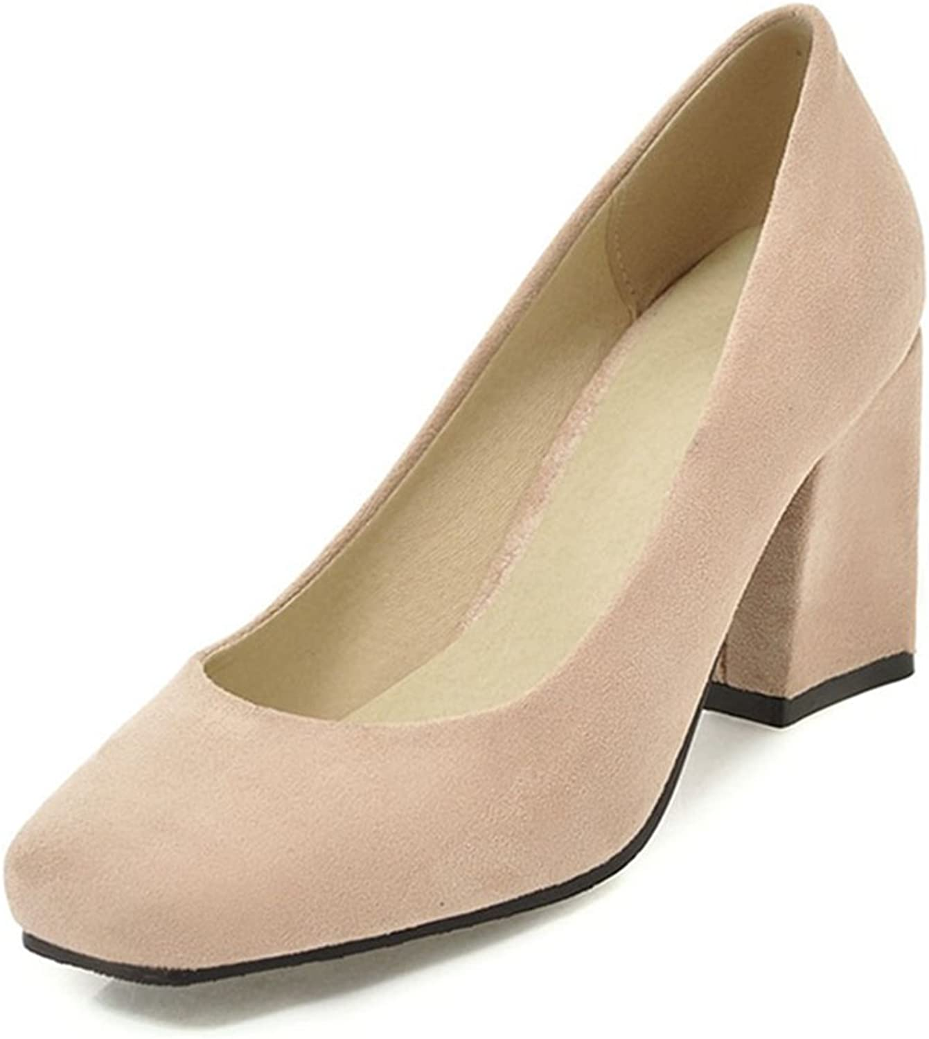 York Zhu Women Pumps, Elegant Solid Slip-on Square Toe Square Heel Office shoes