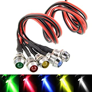 5pcs/Lot LED Indicator Light Lamp Pilot Dash Directional Car Truck Boat Blue red Green Yellow White (5pcs A)