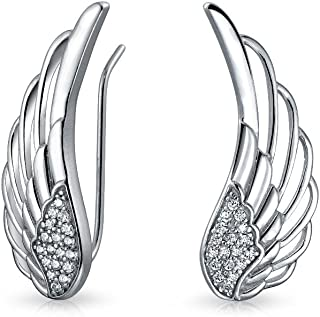 Trendy Spiritual Guardian Angel Wing Feather Ear Pin Climbers Earrings For Women Round Cubic Zirconia Pave CZ Crawler 925 ...