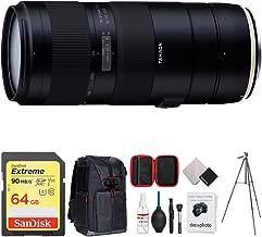 Tamron 70-210mm F/4 Di VC USD Telephoto Zoom Lens for Full-Frame Canon DSLR (AFA034C-700) + 64GB Memory Card + Photo Camera Sling Backpack + Vanguard 60