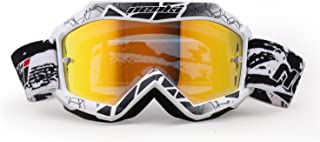 Youth Motocross MX ATV Goggles By NENKI For Motorcycle Dirt Bike Offroad Ski Snowboard with Anti Fog and 100% UV Protection Lens NK-1018 (Techline White)