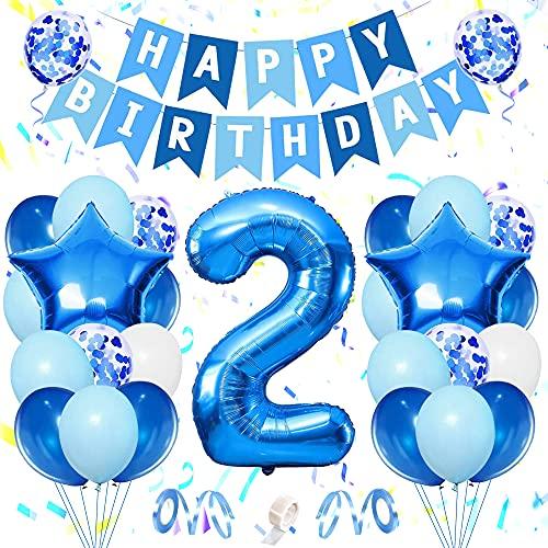 specool 2 Año Decoraciones de cumpleaños para niños, Globos grandes de lámina de helio degradada, Globos de látex de confeti azul blanco azul claro, Banner de feliz cumpleaños y cintas (2nd)