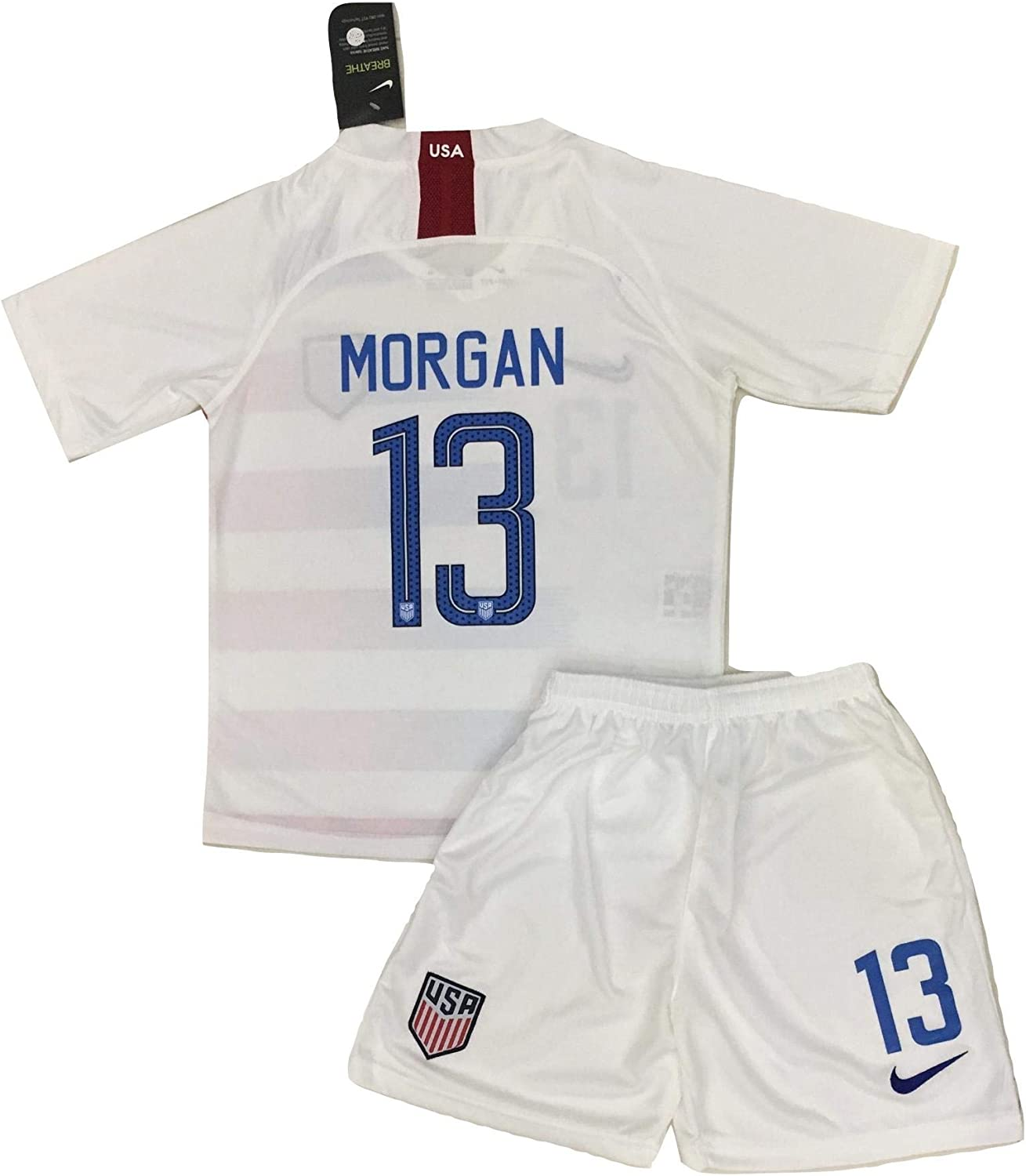 2019 Alex Morgan  13 USA National Team Home Jersey and Shorts for Kids Youths