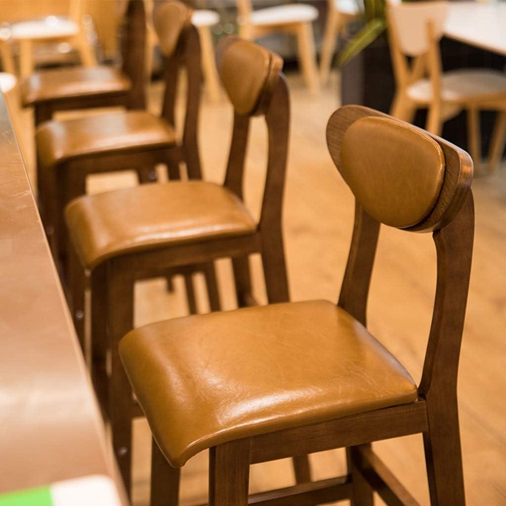 Tabouret de bar de petit déjeuner Tabouret de bar, chaise nordique simple en bois massif, dossier de café (Couleur : D) I