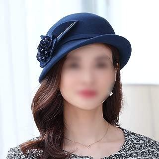 YANGBM Autumn and Winter Ladies Hat, Windproof Dustproof Woolen Hat, Retro Wild Curled Top Hat (Color : Blue)