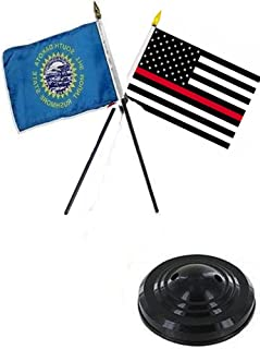 ALBATROS South Dakota State with USA Fire Red 4 inch x 6 inch Flag Desk Set Table Stick with Black Base for Home and Parades, Official Party, All Weather Indoors Outdoors