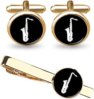 ZUNON Saxophone Cufflinks Music Instrument Cufflinks Tie Clip Wedding Fancy Gift Silver/Gold