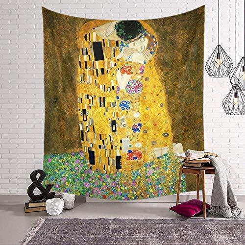 ZGQQQ Gustav Klimt Malerei Tapisserie Hippie Hause Dekorative Wandbehang Tapisserien Strand Yoga Matte Bettdecke Tischdecke 130 * 150 cm 1