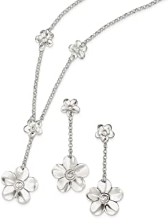 Sterling Silver Polished Fancy Lobster Closure Necklace and Earring Set