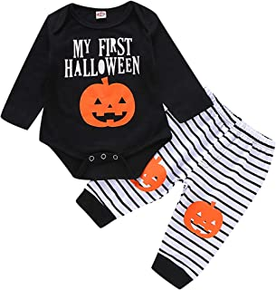 Halloween Baby Outfits Boy Girl My First Halloween Romper Pumpkin Costume Pants Sets