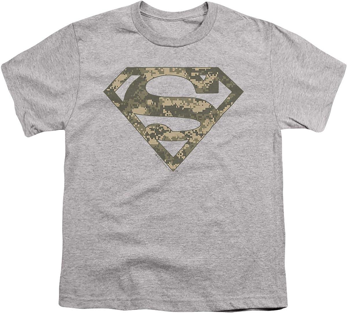 Superman Army Camo Shield Unisex Youth T Shirt, Athletic Heather, Large