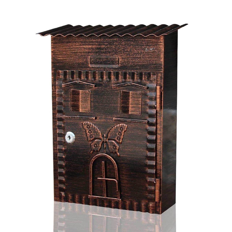 ZXPzZ 別荘のメールボックス/屋外の庭の壁の装飾/ロックが付いているレターボックス/壁の創造的なメールボックス/防水メールボックスの鉄のレターボックスは貯えることができます -メール収集
