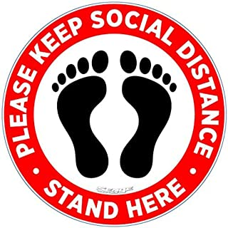 CharmCollection Floor Stickers Social Distancing Pack of 10 Please Practice Social distancing Floor Sign Covid 19 Coronavi...