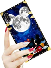 DISNEY COLLECTION Luxury Square Case for iPhone X/XS [5.8-Inch] Mickey and Minnie are Dating Pattern Design Flexible Reinforced Metal Decoration Corners Shockproof Slim Cover