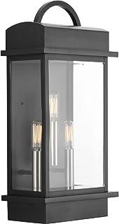 Progress Lighting P560003-031 Santee Three-Light Large Wall Lantern, Black