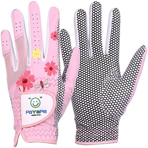 PaYaPa in NEW YORK GH Damen Golf-Handschuhe aus Leder, 1 Paar, Blumendruck, beide Hände (Pink, 18 (XS))