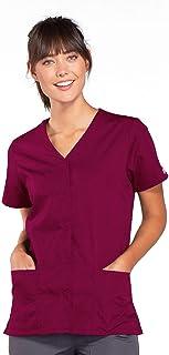 ملابس عمل للنساء من شيروكي، قميص بابزيم امامي ورقبة على شكل حرف في للطواقم الطبية
