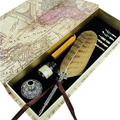 Hethrone Kalligraphie Stift Set Schreibfeder Dip Pen und Tinte Set mit 5 Schreibfedern, Schwarzer Tinte und Stifthalter in Geschenkbox