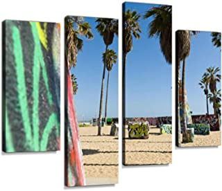 Street Graffiti Venice Beach California USA Canvas Wall Art Hanging Paintings Modern Artwork Abstract Picture Prints Home Decoration Gift Unique Designed Framed 4 Panel