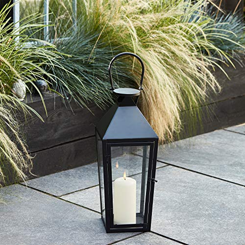 Lights4fun - Farolillo Mediano de Metal Negro con TruGlow® Vela LED a Pilas para Uso en Interiores y Exteriores