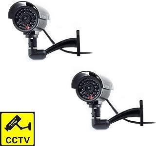 Cámara Seguridad Falsa Interior Exterior Calidad CCTV Cámara de Vigilancia con Intermitente Luz LED Noche x 2