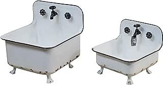 Set of Two White Metal Wash Tub Planters Vintage Inspired Distressed Wash Basin Planter Set