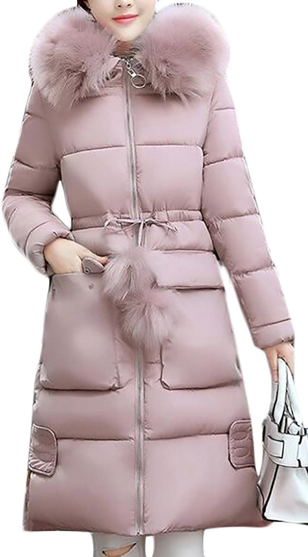 GenericWomen Generic Women's Faux Fur Hooded Down Jacket Winter Warm Hoodies Down Jacket