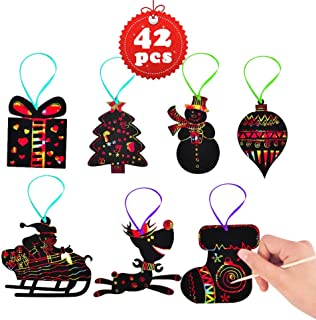 42Pcs Christmas Decorations Rainbow Scratch Paper Art, Magic Colorful Scratch Off Paper Xmas Ornaments DIY Decorations for Kids Gift Crafts Including Snowman, Reindeer,Christmas Tree, Santa and More