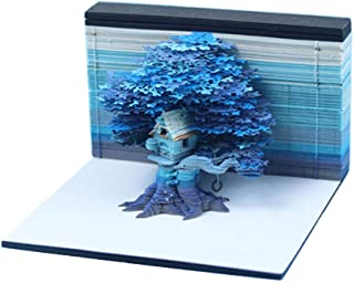 Haoun DIY Note Paper Art Building Block, 3D Sticky Memo Notes Tree House Model with LED Light Creative Stickers Paper Card...