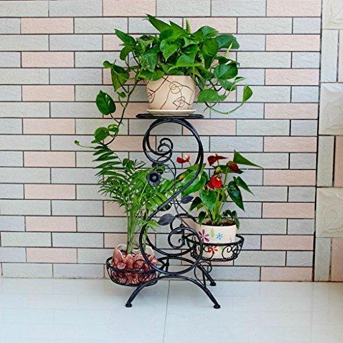 & Pot rack Porte-grille en fer, 3 étagères étagées Porte-Bonsai Maison Jardin Décor de patio étagères Noir/Blanc Pots à fleurs décoratifs (Couleur : B, taille : 66 * 50 * 25CM)