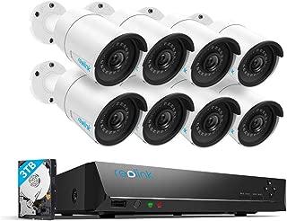 Reolink Super HD Sistema de cámara de seguridad PoE, 4egapixeles, 8Cámaras de vigilancia IP, 5MP, 16canales NVR, 3TB Disco duro, 24/7grabacióndel Hogar y Negocio RLK16-410B8