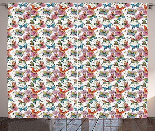 ABAKUHAUS Schmetterling Rustikaler Gardine, Retro Schwalbenschwanz-Flügel, Schlafzimmer Kräuselband Vorhang mit Schlaufen und Haken, 280 x 260 cm, Mehrfarbig