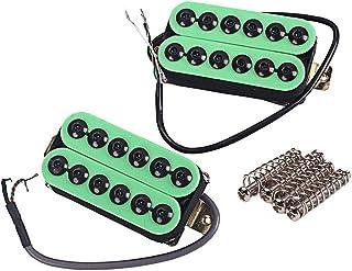 Healifty 2pcs Guitar Pickup Set Guitar Humbucker Pickup Puente y cuello para piezas de guitarra eléctrica de reemplazo (verde)