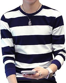 [ベンケ] Tシャツ メンズ ボーダー 長袖 カットソー 綿 オシャレ カジュアル 春 秋 トップス 丸首 M~2XL