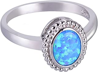 Anelli KELITCH per donne Ragazze Waterdrop White Opal Stacking Ring Hollow out Anello placcato argento per donne 4A-6