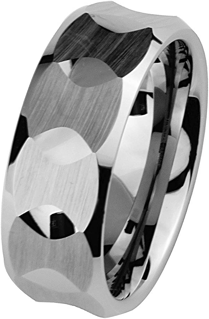 GoldenMine 8mm Faceted Tungsten Comfort-fit Wedding Band Ring (Size 5 to 15)