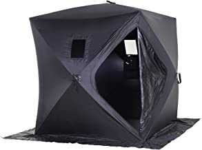 Outsunny 2 Person Pop Up Clam Ice Fishing Tent Portable Insulated Shelter - Black