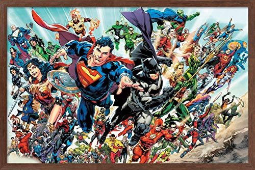 Trends International DC Comics - Justice League Rebirth - Group Wall Poster, 22.375' x 34', Mahogany Framed Version