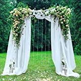 HAVII 394 x 53 inch Organza Table Runner Sheer Scarf Valance Tulle Roll Backdrop Curtains for Wedding Table Swags Stair Bow Baby Shower Birthday Party Decoration - White, 1 Pack