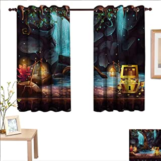Superlucky Fantasy Decor Curtains by Cartoon Style Cave Landscape with a Big Tree Treasure Chest Lamps and Waterfall 63