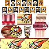 Babioms Naruto Set di Stoviglie per Feste, Include tovaglia, Piatti di Carta, Fazzoletto di Carta, Bicchieri di Carta, Cannucce, Forchette,Banner, 62pcs