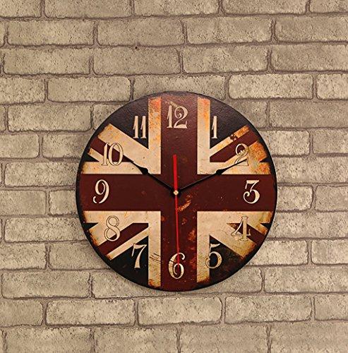 GSPgz Orologi da parete Orologi da parete industria Retro marcia orologi da parete grandi dimensioniorologi da parete vintage grande Retro Legno massello muto moderno Orologio da parete (Colore : D)