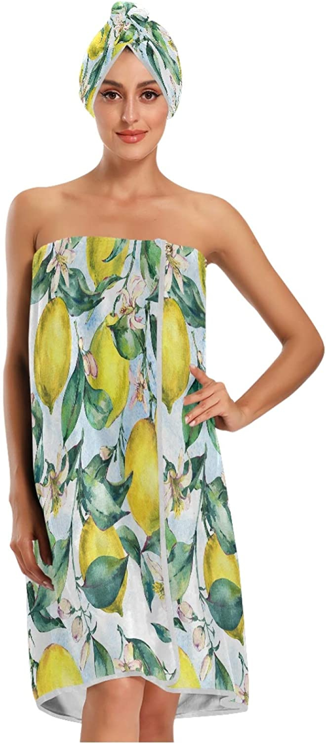 Bath Wrap for Large special price !! Women Citrus Yellow Lemon free shipping and Leaves Flowers Green