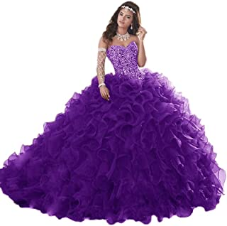 Gorgeous Heavy Beaded Organza Quinceanera Dress for Sweet 16 Princess Ball Gowns