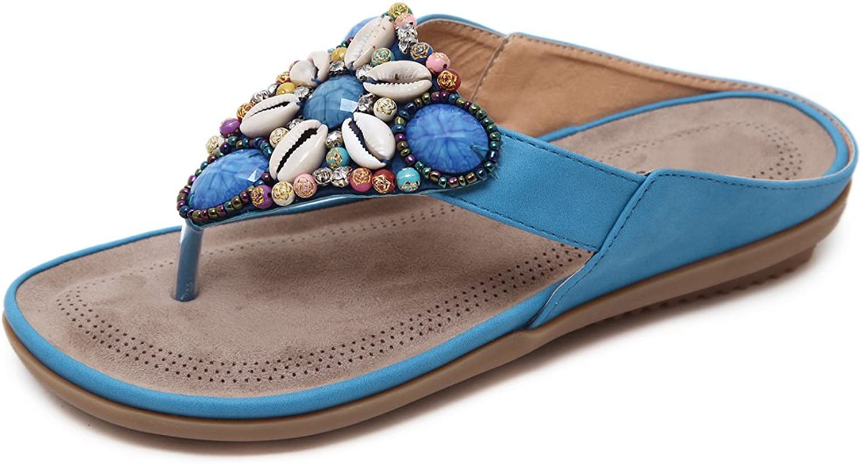 Honeystore Women's Boho Flower Beaded Low Heels Beach Flip-Flops Slippers Flats Sandals shoes