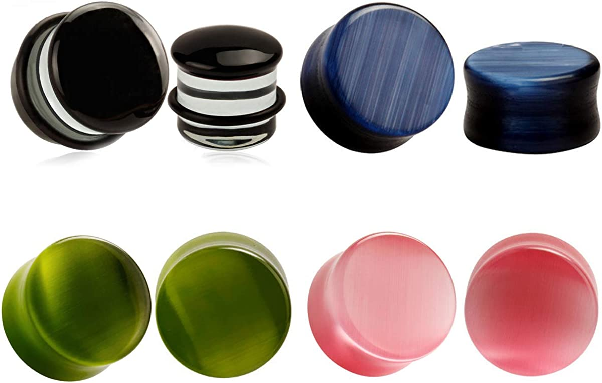 4 Pairs Cateye Stone Oakland Mall 25% OFF Glass Ear Plugs Me Gauges for Women Tunnels